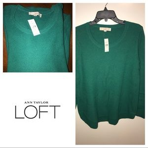 Loft Green Crew Neck Sweater NWT